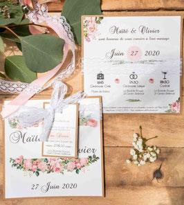 Faire-part de mariage fleuri et romantique - Collection Victoire