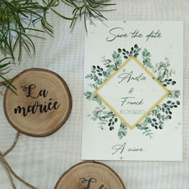 Save the date de mariage eucalyptus - Collection Capucine - Papier ensemencé