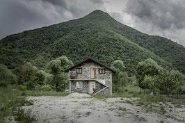 La maison et la colline - 40 x 60 cm