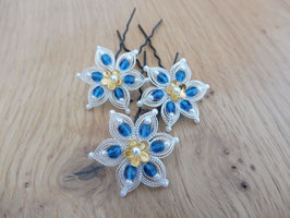Blütenhaarnadeln Capri blau3 Stück