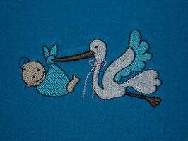 Stickdatei Baby mit Storch 2