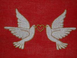 Stickdatei Tauben mit Herz vereint