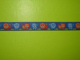 Webband Löwe blau 2 Meter
