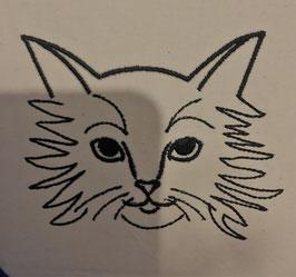 #Stickdatei Katzenkopf Konturbild