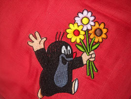 Stickdatei Maulwurf mit Blumenstrauss