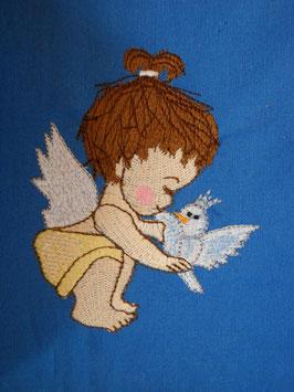 Stickdatei Engelchen mit Vogel