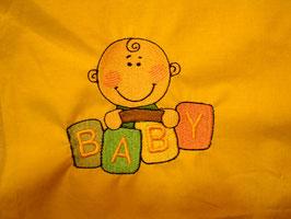 Stickdatei Baby mit Würfel