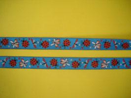 Webband Marienkäferli blau 2 Meter