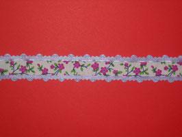 Spitzenband Blumen lila 2 Meter