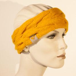 Strick-Stirnband mit Zopfmuster gelb
