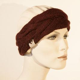 Strick-Stirnband mit Zopfmuster dunkelrot