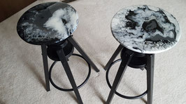 Black Powdered Coated Steel & Wood Stool