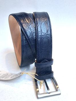 CINTURA FIANCO COCCODRILLO 3,5 cm - Blu scuro Opaco
