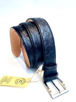 Cintura Struzzo Nero 3,5 cm