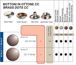 BOTTONI AUTOMATICI GIUBBOTTO CC IN OTTONE