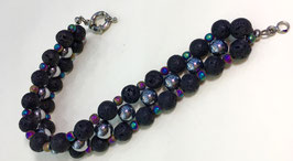 Bracelet with lava and hematite beads, handmade
