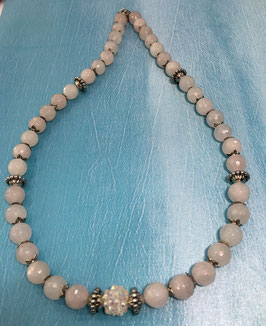 Rose quartz necklace, 50 cm