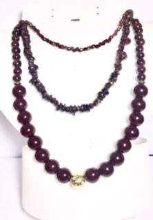 Handmade necklace with 3 rows 0f garnet beads and pyrite