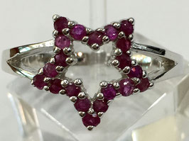 Ring wth 28 small ruby, 0,47 ct.