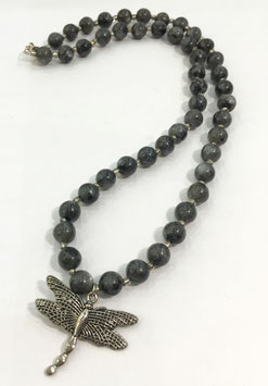 Labradorite necklace with butterfly pendant