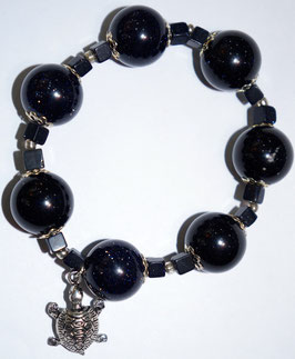 Handmade bracelet with blue goldstone beads