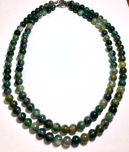 Handmade necklace, 2 row with moos agate