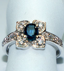 Ring   Sapphire and 8 CZ Diamonds