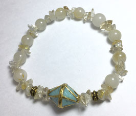 Handmade bracelet with rutile  gold quartz beads