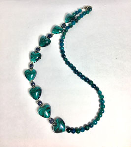 one of a kind handmade necklace with chrysocolla beads and glass hearts