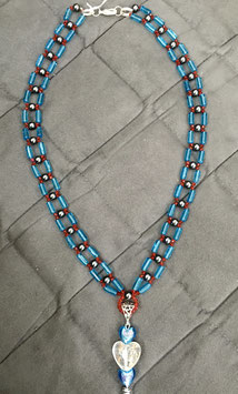 Necklace with glass cylinder and hematite beads