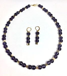 One of a kind handmade set necklace and earrings with glass and hematite beads