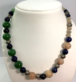 necklace with lapis lazuli, aventurine, sun- and moonstones