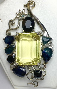 Pendant with citrine 24,96 ct. and sapphires, 13 ct.