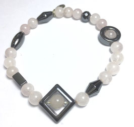 Handmade rose quartz and hematite bracelet