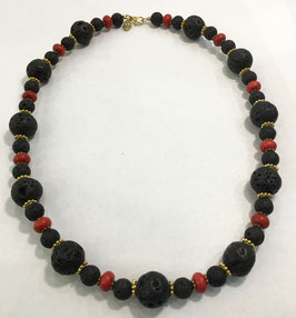 Necklace with lava and howlite beads