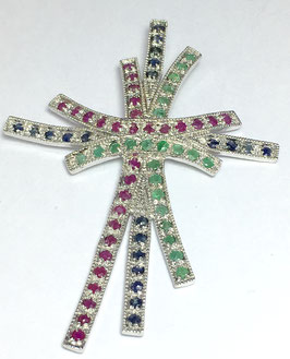 Pendant with ruby, sapphires and emeralds