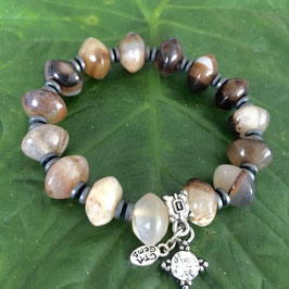 Handmade bracelet with agate and hematite beads, 19 cm