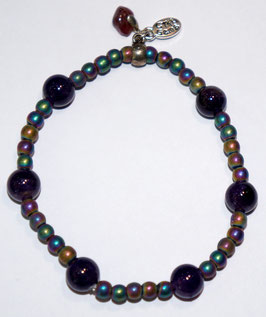 Handmade hematite and amethyst bracelet