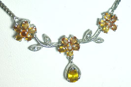 Necklace wth 19 yellow sapphires and CZ diamonds