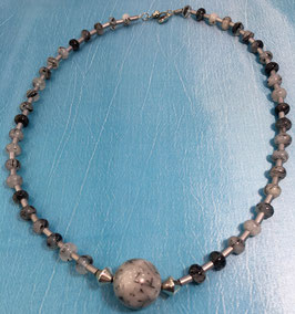 Rutile quartz und hematite necklace