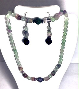 Handmade set, necklace, bracelet, earrings with fluoride beads