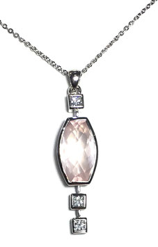 One of a kind pendant with rose quartz 14,75 ct. and CZ
