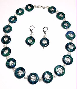 handmade  necklace and earrings  with chrysocolla rings
