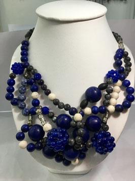 Handmade labradorite, Jasper, howlite, amethyst necklace
