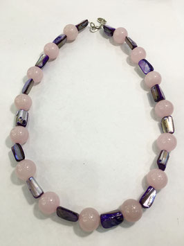 Necklace Rose quartz and Mother of pearl