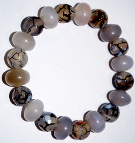 Handmade bracelet with dragon vein agate beads