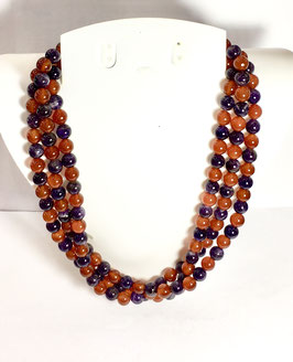 One of a kind handmade necklace with carnelian and amethyst beads