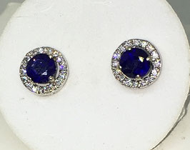 Studs with sapphires,2,2 ct. and CZ