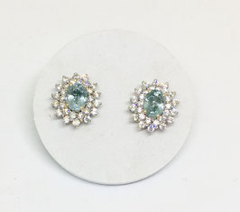 Studs with aquamarine 1,54 ct. and CZ