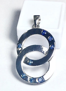 One of a kind handmade pendant with blue sapphires, 1,14 ct. from Sri Lanka